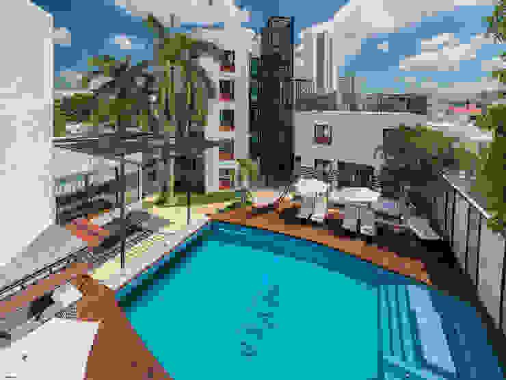 Celosía iluminada en torres RR Mobili Hoteles de estilo moderno Madera Blanco