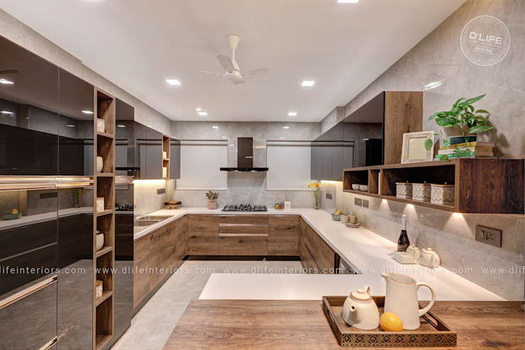 Mr. Shebin Backer's new interior project @ Kochi DLIFE Home Interiors KitchenCabinets & shelves
