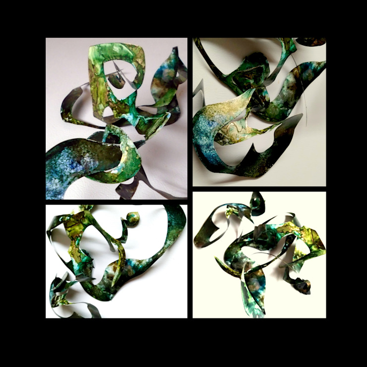 Alcohol Ink Panting , unique 3-D Magnetic Sculpture, High End Creative Sculpture, Interactive sculpture, office sculpture, eco gift idea, affordable sculptures Holly Anderson Fine Art ArtworkSculptures Copper/Bronze/Brass Green