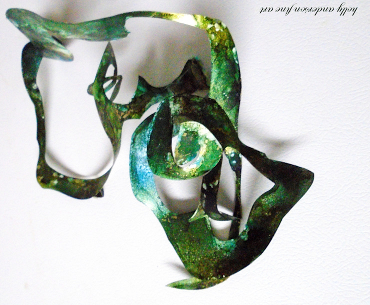 Alcohol Ink Panting , unique 3-D Magnetic Sculpture, High End Creative Sculpture, Interactive sculpture, office sculpture, eco gift idea, affordable sculptures Holly Anderson Fine Art ArtworkPictures & paintings Synthetic Green