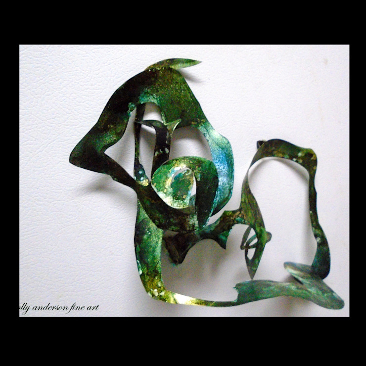 Alcohol Ink Panting , unique 3-D Magnetic Sculpture, High End Creative Sculpture, Interactive sculpture, office sculpture, eco gift idea, affordable sculptures Holly Anderson Fine Art Office spaces & stores Aluminium/Zinc Green