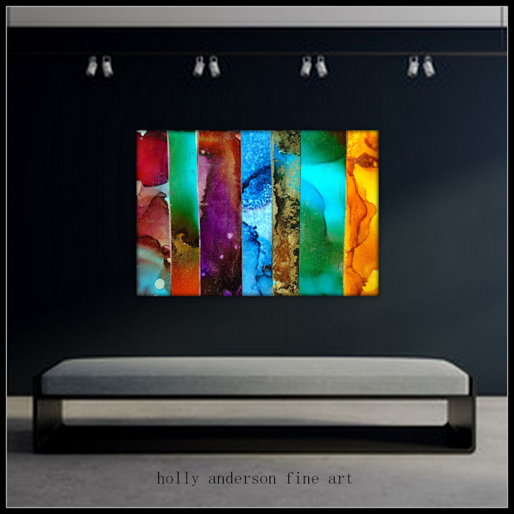 Large Fluid Alcohol Ink Art Paintings, Luxury Marbled Wall Art, Panel Wall Art, Vertical Stripe Painting, Metal Wall Art Print, Abstract Contemporary Modern Industrial BOHO office wall art nature wall art BEAUTOS by Holly Anderson Holly Anderson Fine Art ArtworkPictures & paintings Metal Multicolored