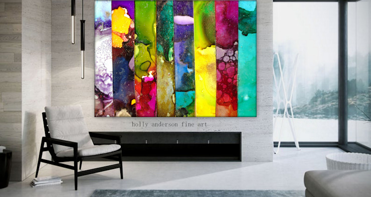 Large Fluid Alcohol Ink Art Paintings, Luxury Marbled Wall Art, Panel Wall Art, Vertical Stripe Painting, Metal Wall Art Print, Abstract Contemporary Modern Industrial BOHO office wall art nature wall art Variatis by Holly Anderson Holly Anderson Fine Art ArtworkPictures & paintings Metal Multicolored
