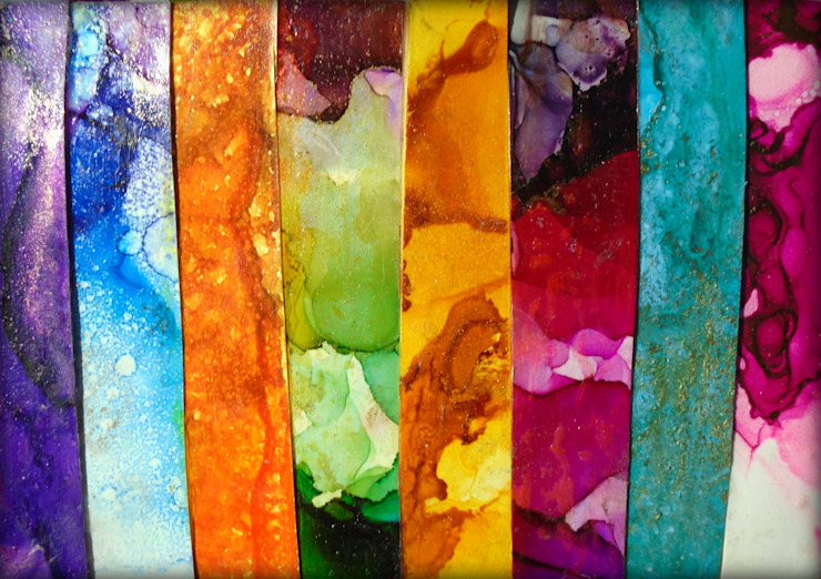 Large Fluid Alcohol Ink Art Paintings, Luxury Marbled Wall Art, Panel Wall Art, Vertical Stripe Painting, Metal Wall Art Print, Abstract Contemporary Modern Industrial BOHO office wall art nature wall art DAYDREAM by Holly Anderson Holly Anderson Fine Art ArtworkPictures & paintings Multicolored