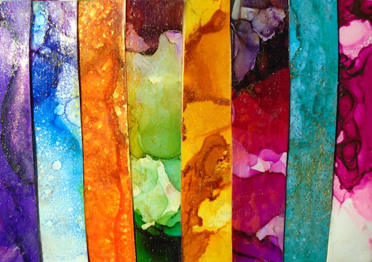 Large Fluid Alcohol Ink Art Paintings, Luxury Marbled Wall Art, Panel Wall Art, Vertical Stripe Painting, Metal Wall Art Print, Abstract Contemporary Modern Industrial BOHO office wall art nature wall art DAYDREAM by Holly Anderson Holly Anderson Fine Art ArtworkPictures & paintings Metal Multicolored