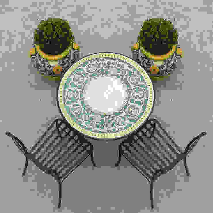 Tavolo da giardino in ceramica di Deruta VillaDorica GiardinoMobili Ceramica Verde