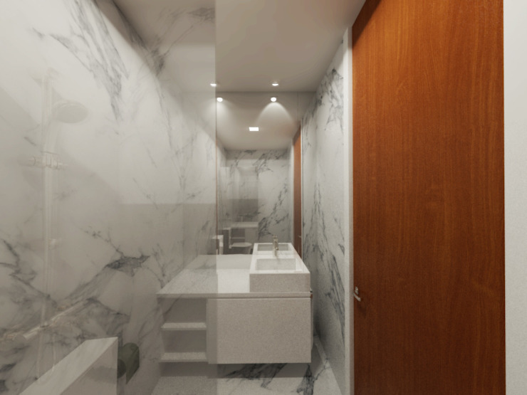 Linhas Simples Kamar Mandi Modern Marmer White