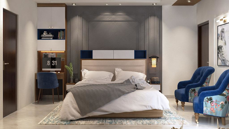 Master bedroom designed with elegant beige and blue theme with hints of blue Lakkad Works Modern style bedroom