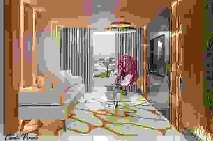 Living Camila Pimenta | Arquitetura + Interiores Salas de estar modernas Madeira Bege