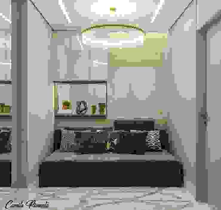 Quarto Hóspedes Camila Pimenta | Arquitetura + Interiores Quartos pequenos Madeira Bege