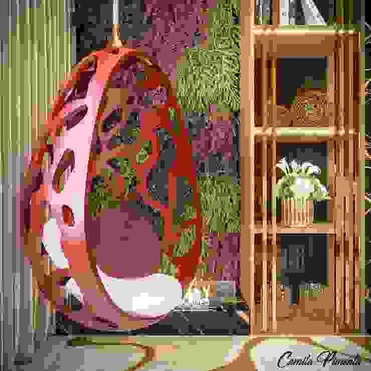 Detalhes Camila Pimenta | Arquitetura + Interiores Salas de estar modernas Madeira Vermelho