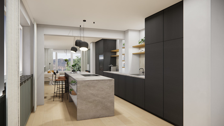 Die offene Küche als Verbindung und Mittelpunk Innenarchitektur Federleicht Küchenzeile Stein Schwarz