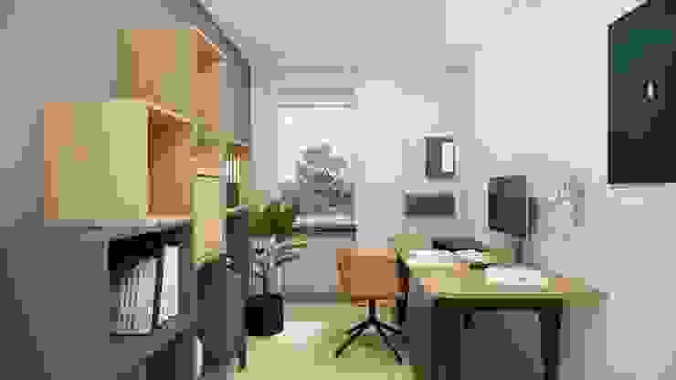 Aufgeräumter Arbeitsplatz zu Hause Innenarchitektur Federleicht Skandinavische Arbeitszimmer Holz Grau