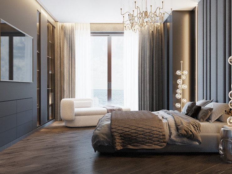 АПАРТАМЕНТЫ В П. МАЛЫЙ МАЯК Студия дизайна ROMANIUK DESIGN Спальня в классическом стиле