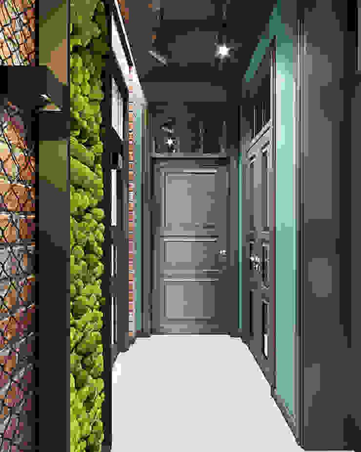 Студия дизайна ROMANIUK DESIGN Industrial style corridor, hallway and stairs