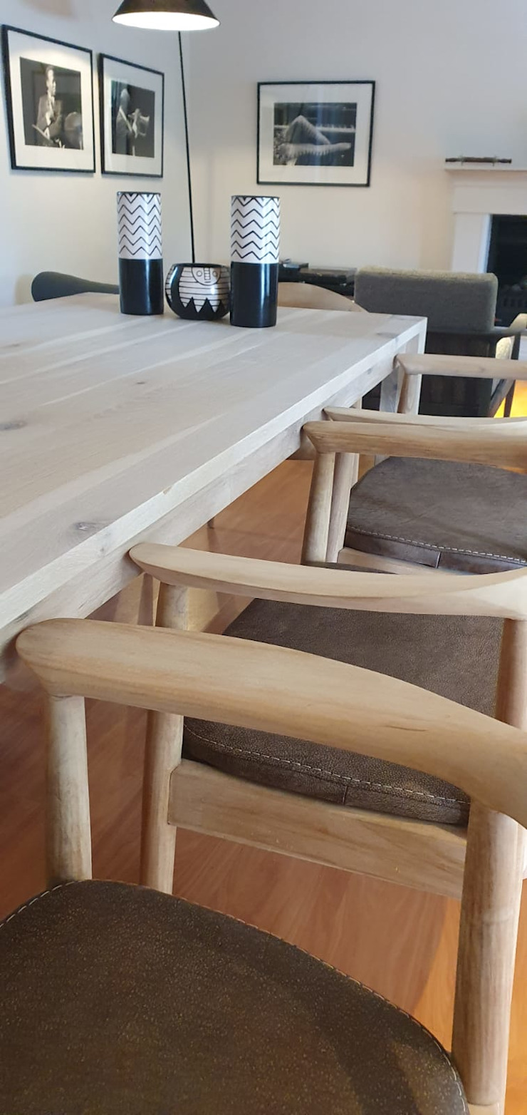 Detail of dining chairs Deborah Garth Interior Design International (Pty)Ltd Dining roomChairs & benches Wood White