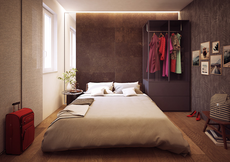 CAMERA DA LETTO/ parete Arch+ Studio Camera da letto moderna Piastrelle Marrone