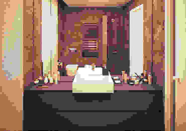 BAGNO/ parete con specchio Arch+ Studio Bagno moderno Piastrelle Marrone