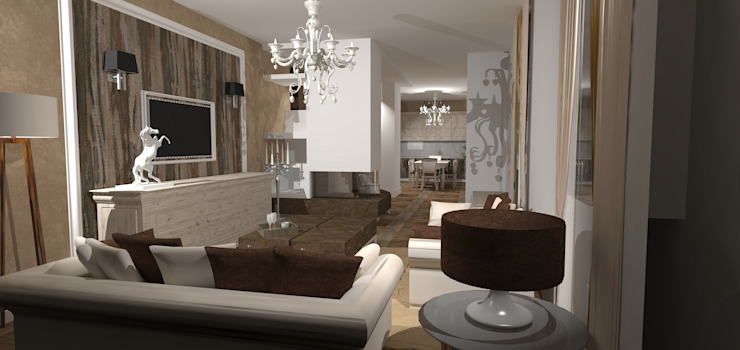 il calore del legno Interior Design Stefano Bergami Soggiorno classico Legno Bianco