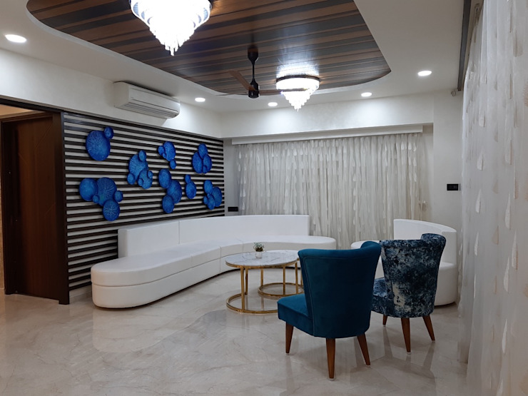 """""""Interiors that reflect your style"""" 4BHK Interior designer, Ahmedabad Monoceros Interarch Solutions Minimalist living room"""