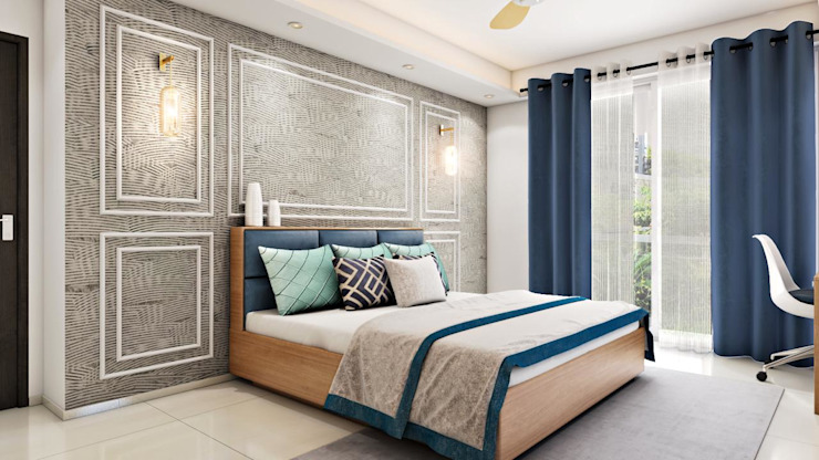 Master bedroom in beige with hints of buoyant blue Lakkad Works Small bedroom