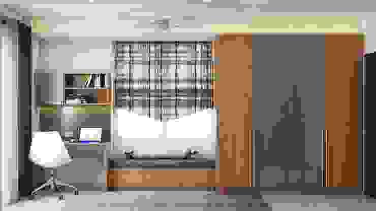 Master bedroom bay window with study and dual tone wardrobe Lakkad Works Small bedroom