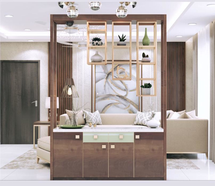 Partition cum crockery unit in living room Lakkad Works Modern dining room