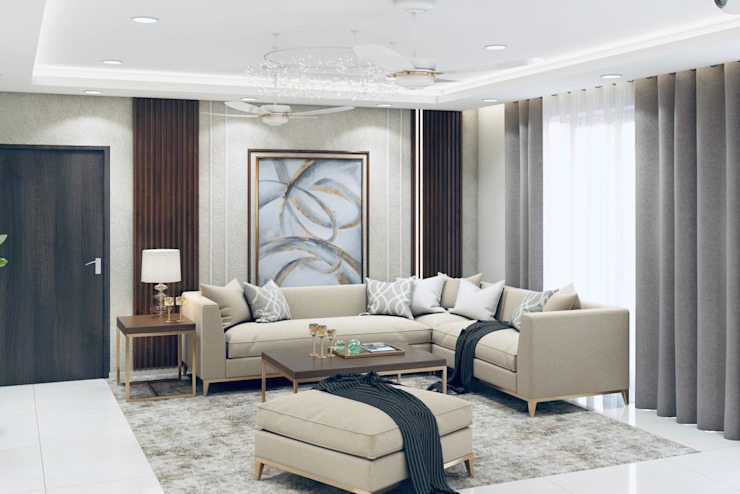 Living room designed in light beige color theme Lakkad Works Modern living room