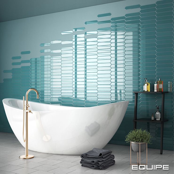 Equipe Ceramicas Scandinavian style bathroom Tiles Turquoise