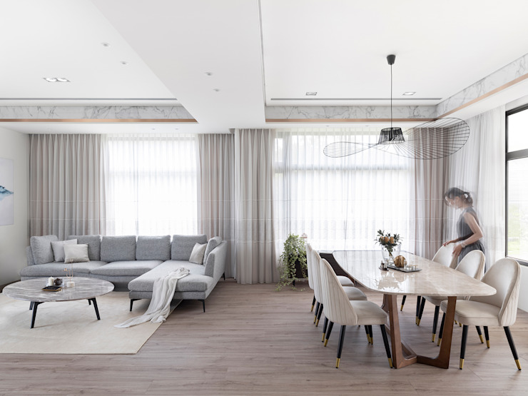 時光相視 漢玥室內設計 餐廳 大理石 Wood effect