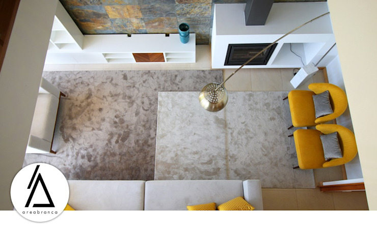 Projeto - Design de Interiores - Sala NR Areabranca Salas de estar modernas