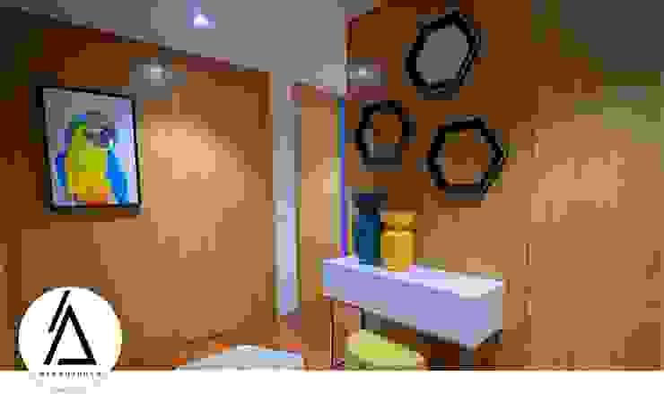 Projeto - Design de Interiores - Apartamento CM Areabranca Corredores, halls e escadas modernos