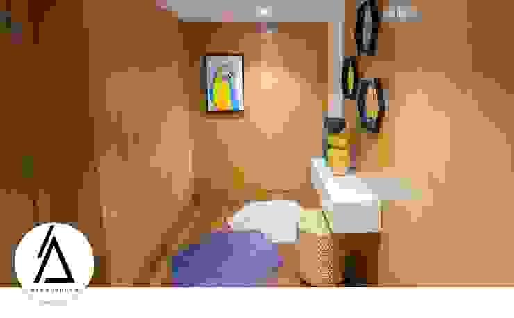 Projeto – Design de Interiores – Apartamento CM Areabranca Corredores, halls e escadas modernos
