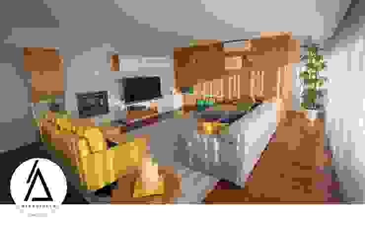 Projeto – Design de Interiores – Apartamento CM Areabranca Salas de estar modernas