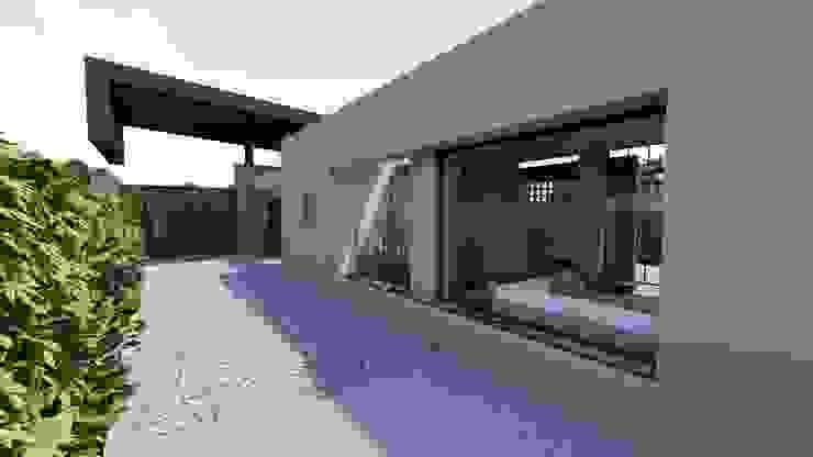 Fachada Sur - Acceso Vehicular CONCEPTUAL ESTUDIO + ARQUITECTURA SAS Conjunto residencial Concreto Beige