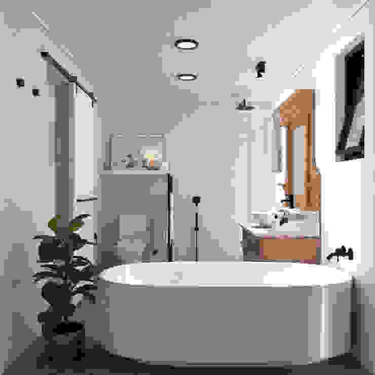 Remodelación Studio Design Arquitectos Baños de estilo minimalista Madera Blanco