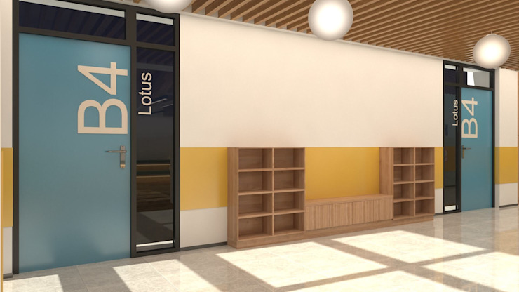 教室外觀及走廊 麥斯迪設計 Minimalist corridor, hallway & stairs MDF Multicolored
