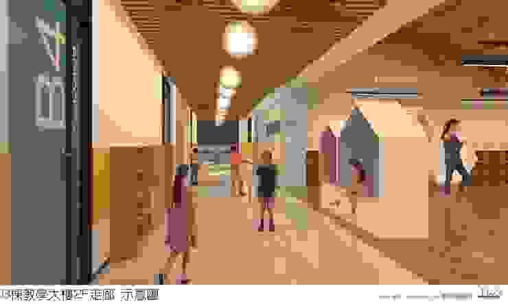 教室走廊活動區 麥斯迪設計 Modern corridor, hallway & stairs Solid Wood Multicolored