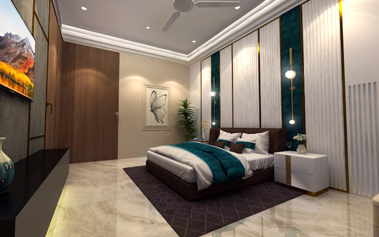 Schlafzimmer mit Messingeinsätzen, Braun- und Weißtönen mit türkisen Farbakzenten und Marmorboden passion-muenchen Moderne Schlafzimmer Marmor Türkis