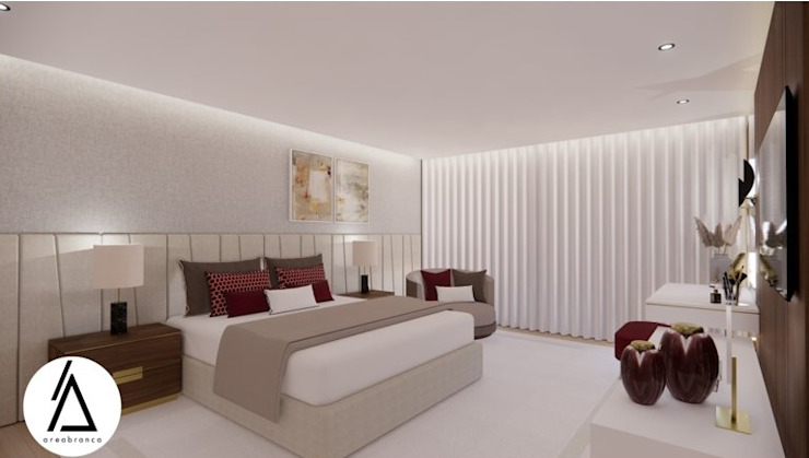 Projeto - Design de Interiores - Suite Principal FR Areabranca Quartos modernos