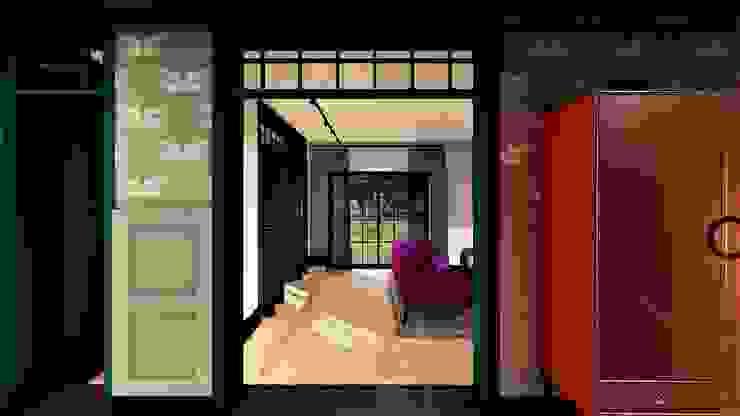 salon livinghome wnętrza Katarzyna Sybilska Eklektyczny korytarz, przedpokój i schody