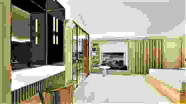 okno w sypialni livinghome wnętrza Katarzyna Sybilska Nowoczesna sypialnia
