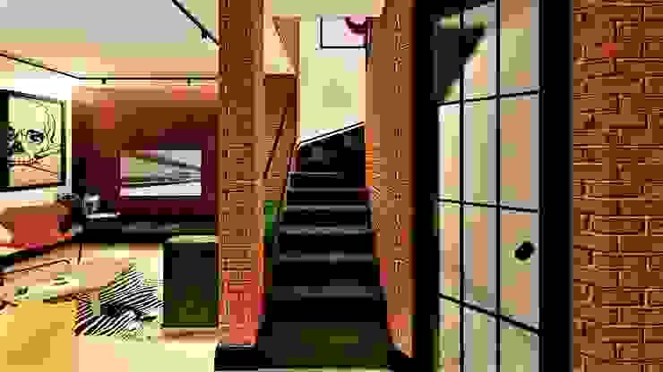 czarne schody livinghome wnętrza Katarzyna Sybilska Nowoczesny korytarz, przedpokój i schody