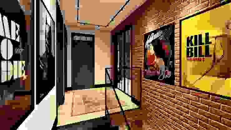 cegla w roli głownej livinghome wnętrza Katarzyna Sybilska Nowoczesny korytarz, przedpokój i schody