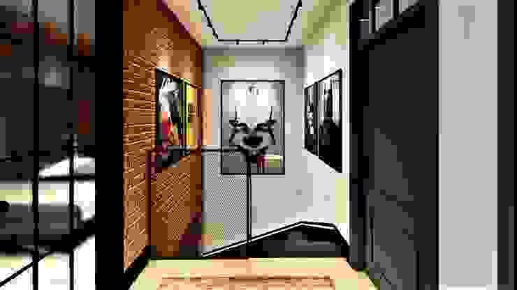 cegla i zieleń -kontrasty livinghome wnętrza Katarzyna Sybilska Nowoczesny korytarz, przedpokój i schody