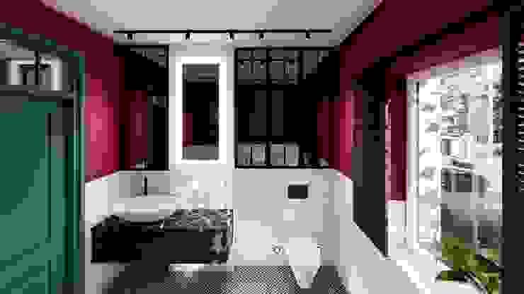 łazienka w bordo livinghome wnętrza Katarzyna Sybilska Eklektyczna łazienka
