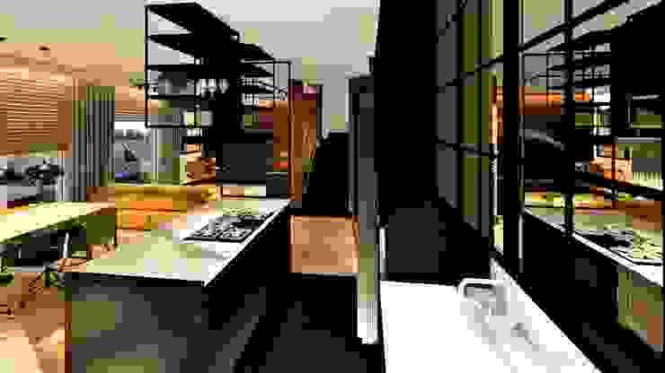 loft livinghome wnętrza Katarzyna Sybilska Industrialna kuchnia