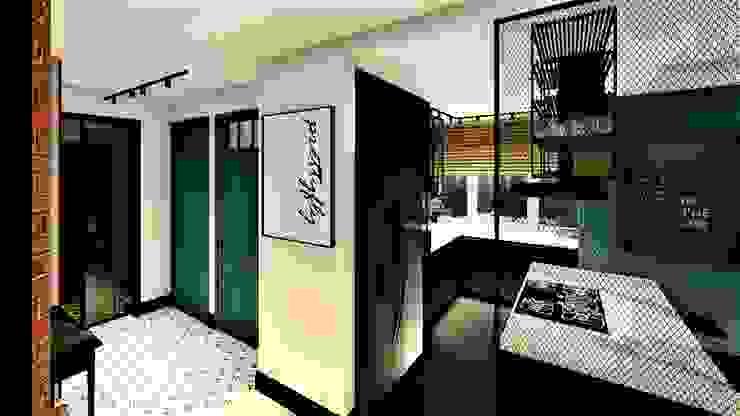 Projekt młody jak lokator livinghome wnętrza Katarzyna Sybilska Industrialny korytarz, przedpokój i schody