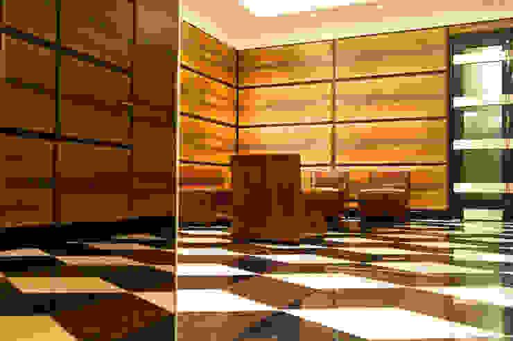 Walnut boiserie coverings with retractable doors, 3D Marble floor, Moscow office Tognini Bespoke Furniture Walls & flooringWall & floor coverings Wood Brown