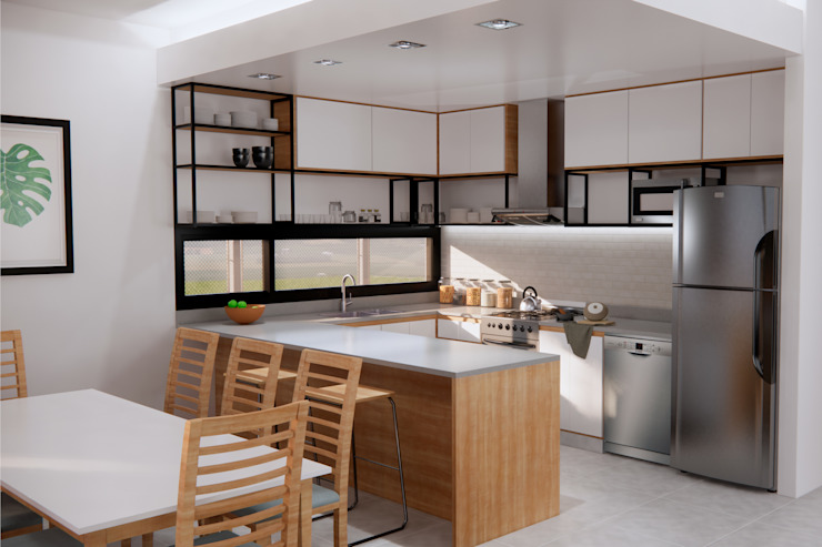 D4-Arquitectos Built-in kitchens Wood White